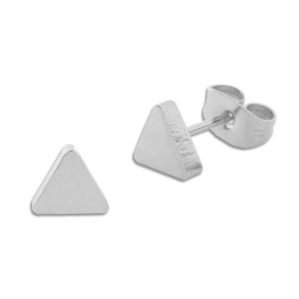 Edelstahl Ohrstecker Dreieck glänzend 6 mm