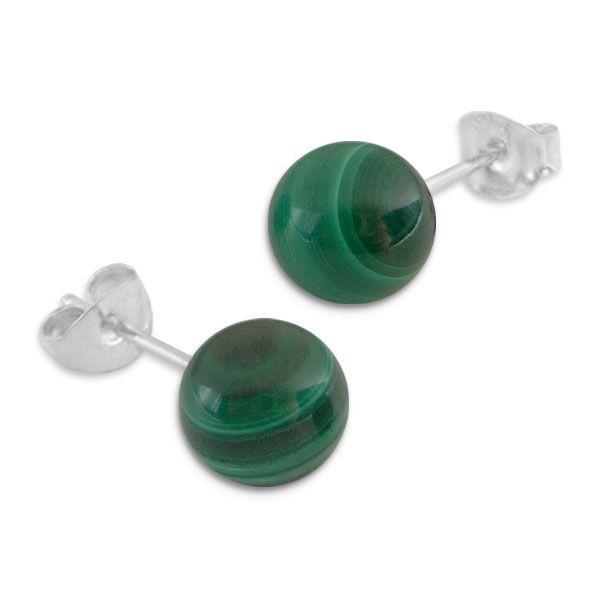 Malachit Ohrstecker Kugel Ohrringe 8 mm 925 Silber