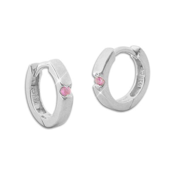 Glänzende Creolen für Damen und Mädchen mit rosa Zirkonia Steinen 925 Silber