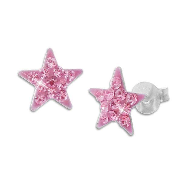 Mädchen Ohrstecker rosa Sterne mit Strass Kristallen 925 Silber