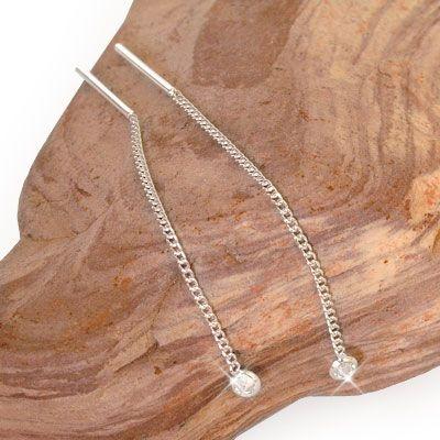 Ohrhänger Durchzieher mit Zirkonia Kristallen 925 Silber