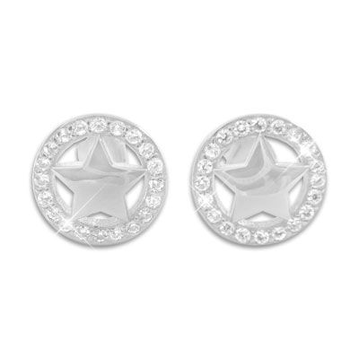 Ohrstecker Stern im Kreis mit Zirkonia 925 Silber