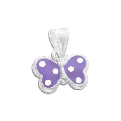 Anhänger Schmetterling lila mit weißen Punkten 925 Silber