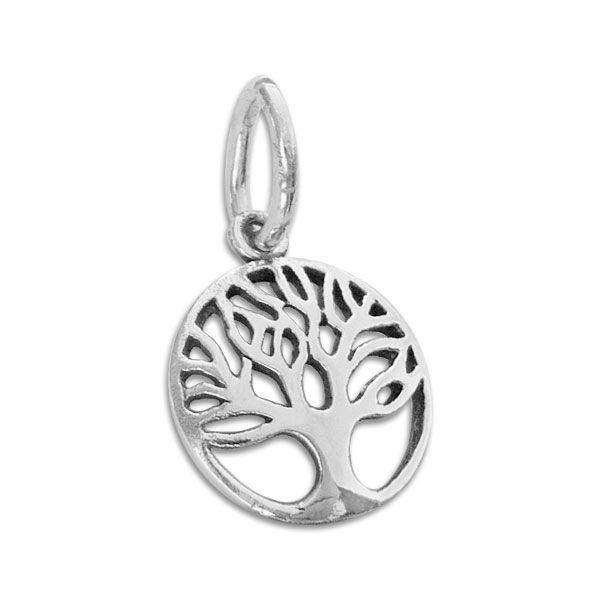 Baum des Lebens Anhänger 13 mm geschwärzt 925 Silber