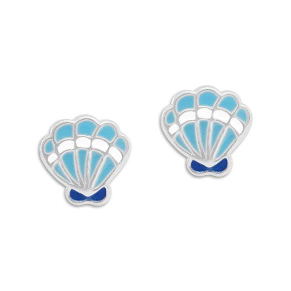 Ohrstecker Muscheln blau und weiß 925 Silber Kinderschmuck maritim