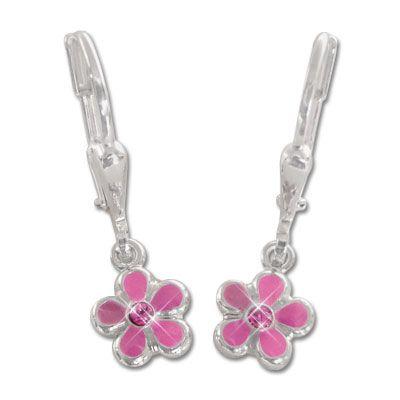 Kinder Ohrringe mit Blumen rosa 925 Silber