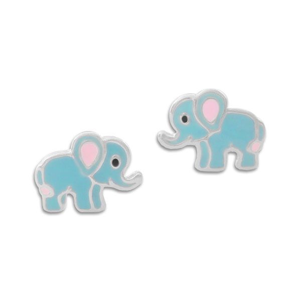 Kinder Ohrstecker blaue Elefanten 925 Silber Kinderschmuck