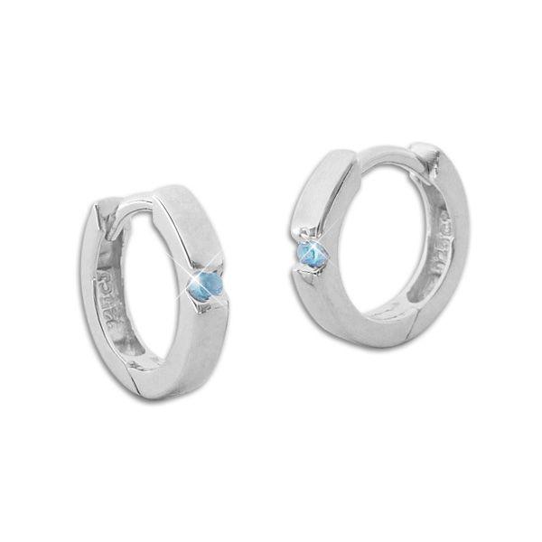 Glänzende Creolen mit aquamarin blauen Zirkonia Steinen 925 Silber