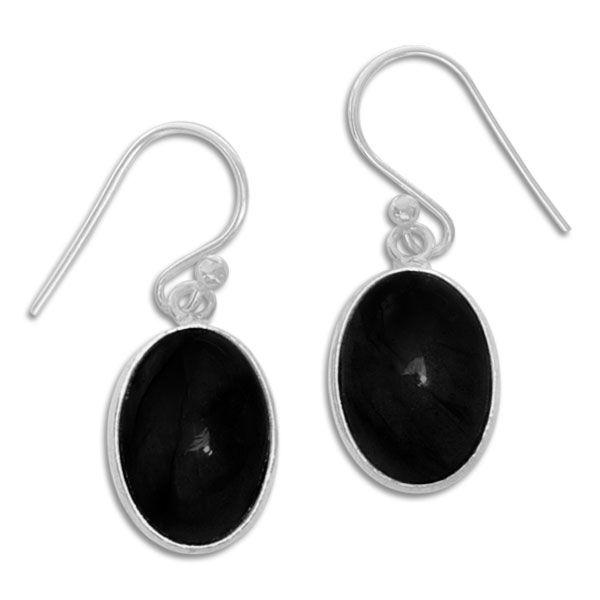 Onyx Ohrhänger oval 925 Silber Edelstein Ohrringe