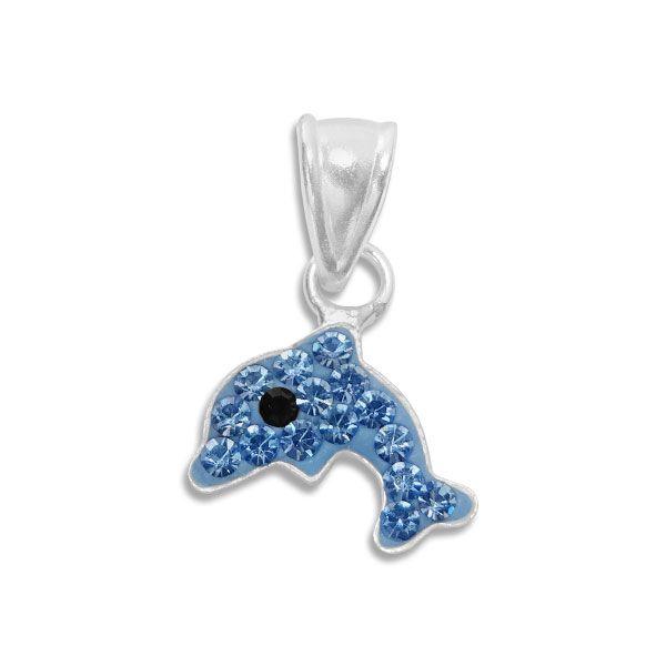 Delfin Anhänger blau mit Strass 925 Silber