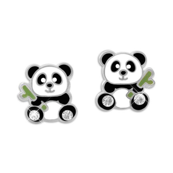 Panda Ohrstecker mit Bambus und Kristallen 925 Silber Kinder Ohrringe