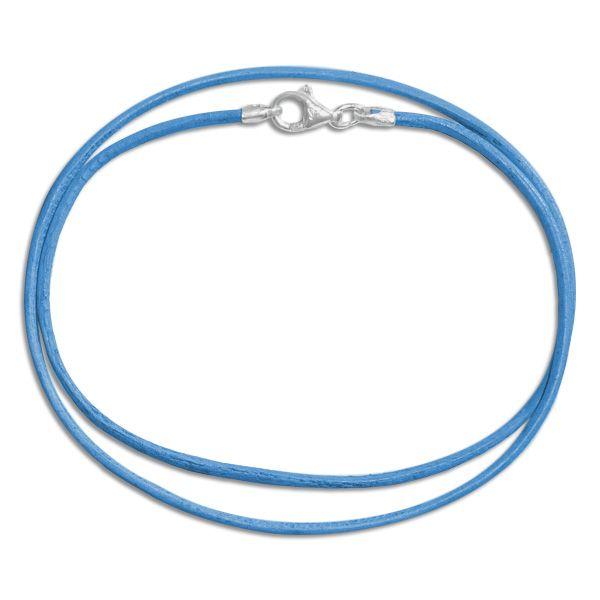 Lederband hellblau 38 cm mit 925 Silber Verschluss