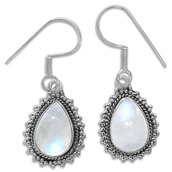 Tropfen Mondstein Ohrringe mit filigranem Rand 925 Silber Edelsteine