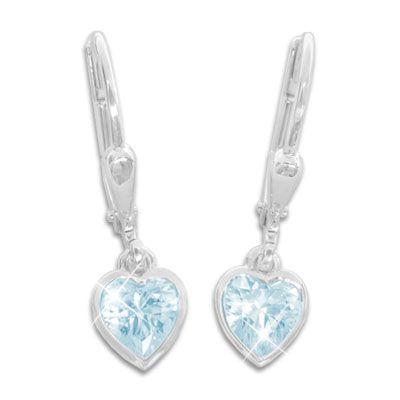 Kinder Herz Ohrringe hängend aquamarin blau 925 Silber