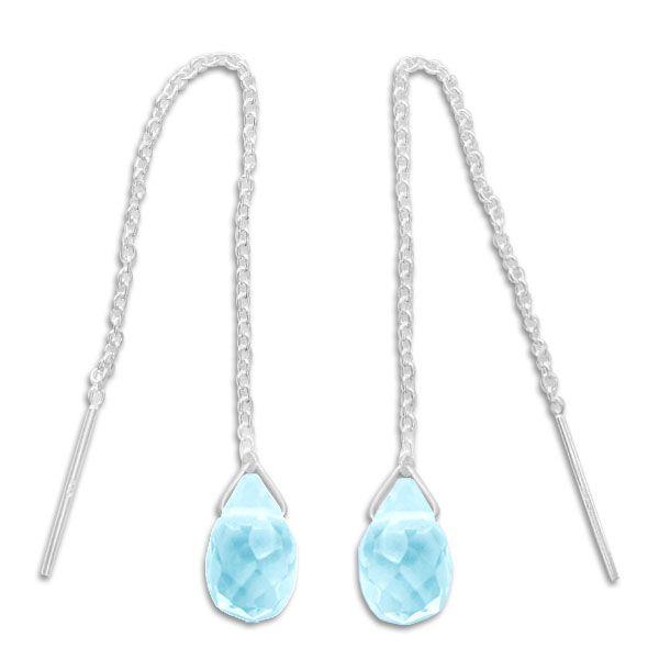 Durchzieher Ohrringe mit aqua blauen Tropfen 925 Silber