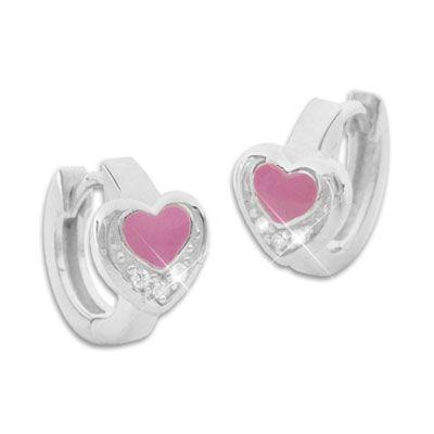 Kindercreolen rosa Herz und Strass 925 Silber Ohrringe Mädchen