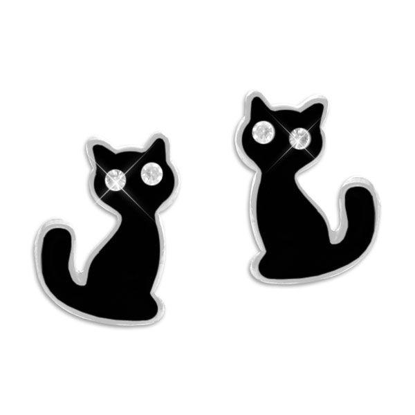 Ohrstecker schwarze Katze mit Strass Augen 925 Silber