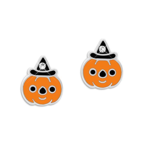 Ohrstecker Halloween Kürbis mit Hut und Strass Stein 925 Silber