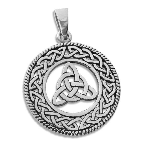 Großer Anhänger mit Triquetra im keltischen Kreis 925 Silber