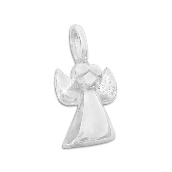 Engel Anhänger mit 3 weißen Zirkonia 925 Silber