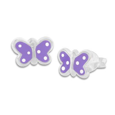 Ohrstecker Schmetterlinge lila mit weißen Punkten 925 Silber Kinderschmuck
