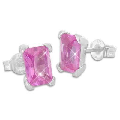 Strass Ohrstecker pink 925 Silber Damen Ohrringe Geschenk