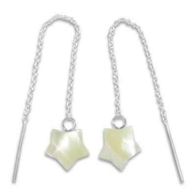 Durchzieher Ohrringe mit Perlmutt Sternen 925 Silber