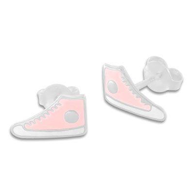 Sneaker Schuhe Ohrringe Ohrstecker hellrosa lackiert 925 Silber Turnschuhe