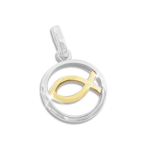 Anhänger Fisch-Symbol im Kreis bicolor 925 Silber teilvergoldet