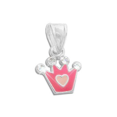 Anhänger mit Krone pink rosa und weiß mit Glitzer 925 Silber