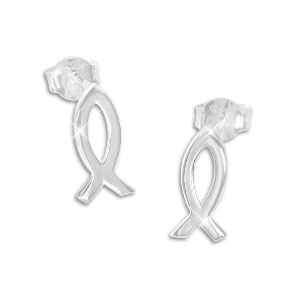 Fisch-Symbol Ohrstecker glänzend 925 Silber Ohrringe mit Jesus-Zeichen