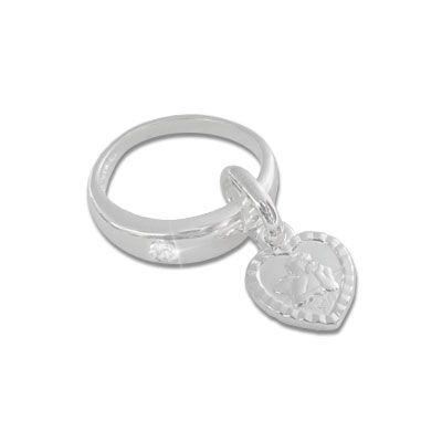 Taufring Anhänger Engel Herz mit Zirkonia 925 Silber