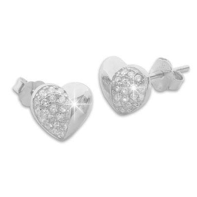 Ohrstecker Herz mit Zirkonia Strass Steinen 925 Silber Ohrringe Damen