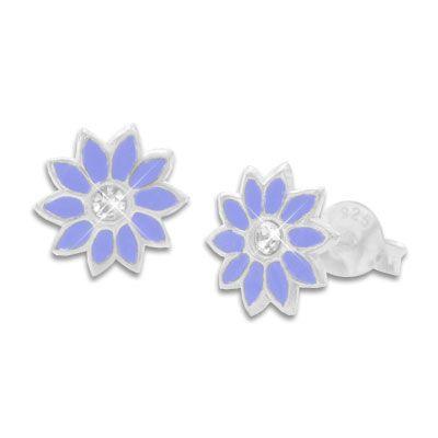 Ohrstecker Blumen mit lila Blüten und Strass Stein 925 Silber