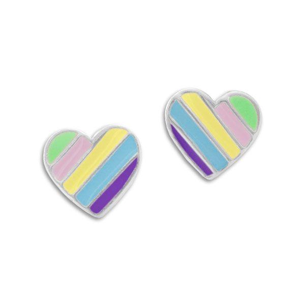Herz Ohrstecker mit Regenbogen Streifen pastell 925 Silber