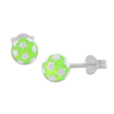 Kugel Ohrstecker neon grün mit weißen Sternen 925 Silber runde Ohrringe