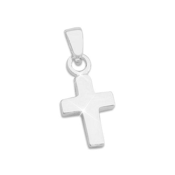 Kreuz Anhänger massiv und glänzend 925 Silber