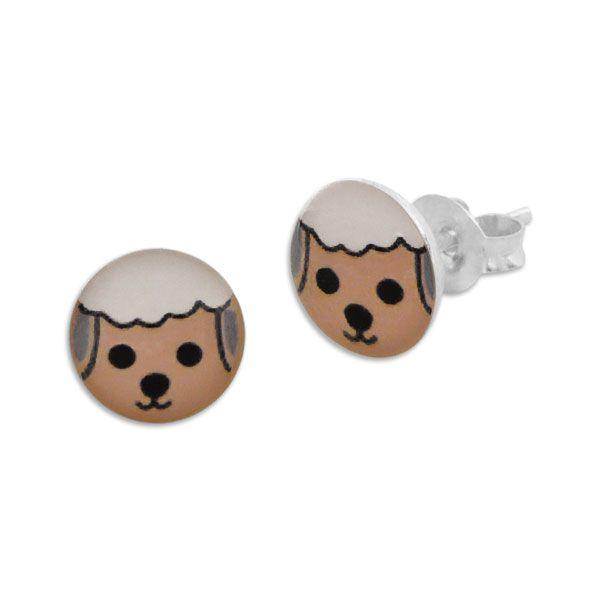 Runde Ohrstecker mit Schäfchen Gesicht 925 Silber Schaf Ohrringe