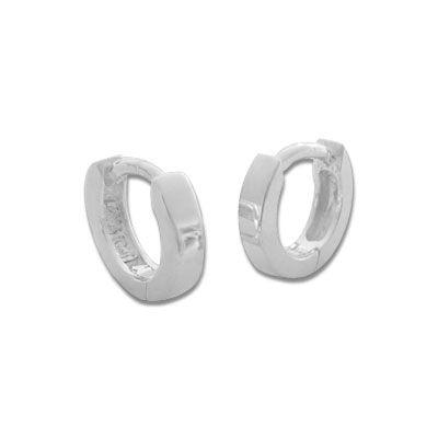 Mini Klappcreolen 925 Silber Ohrringe 9 x 2 mm