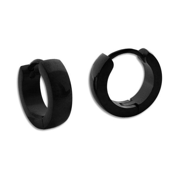 Schwarze Creolen Edelstahl glänzend 12,5 x 3,5 mm