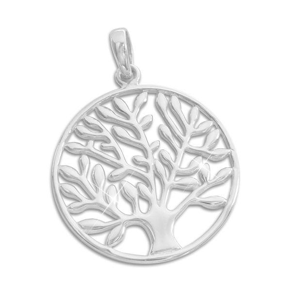 Großer Anhänger Baum des Lebens 21 mm 925 Silber Lebensbaum Sterlingsilber
