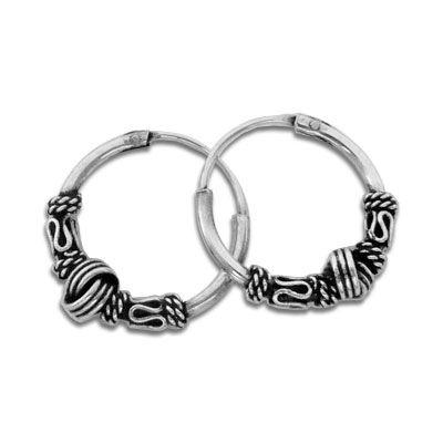 Gothic Schmuck Creolen mit Knoten 925 Silber 14 mm