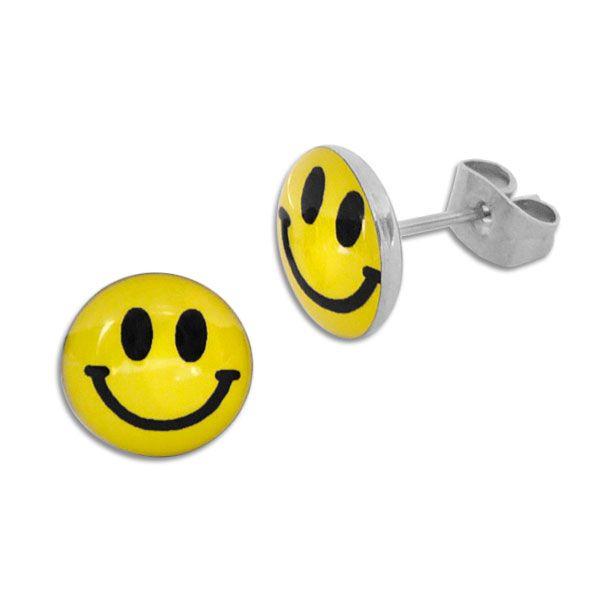 Runde Ohrstecker Smile Gesicht 10 mm Edelstahl