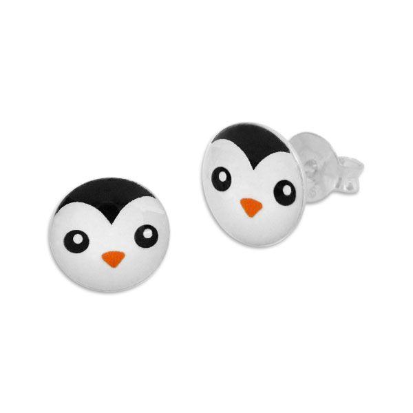 Runde Ohrstecker Ohrringe mit Pinguin Gesicht 925 Silber