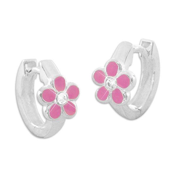 Kinder Creolen mit rosa Blumen und weißen Zirkonia 925 Silber Mädchen Ohrringe