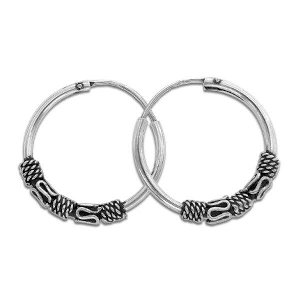 Bali Creolen 16 mm 925 Silber verzierte Ohrringe