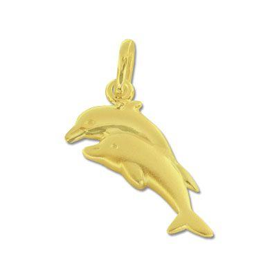 Delfin Paar Anhänger matt-glänzend 333 Gold
