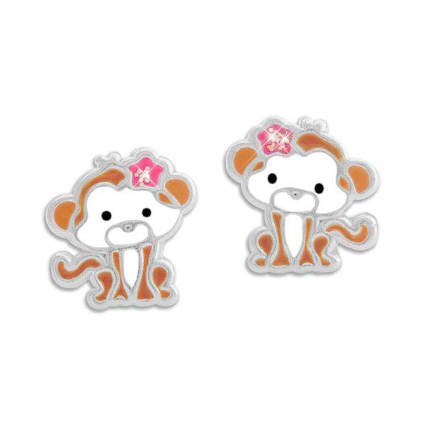 Kinder Ohrstecker Äffchen mit Glitzer Schleife 925 Silber Affen Mädchen