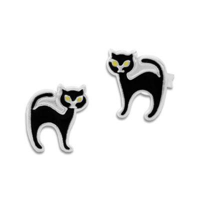 Ohrstecker schwarze Katze 925 Silber Katzen Ohrringe Fasching, Karneval, Halloween