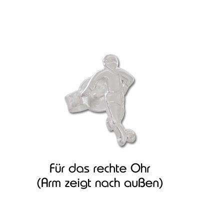Fußballer Ohrstecker 925 Silber 1 Stück rechts